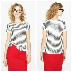 J. Crew Sequin Stripe Tee Black Ivory Small